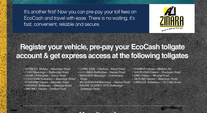 Which ZINARA toll gates are taking Ecocash